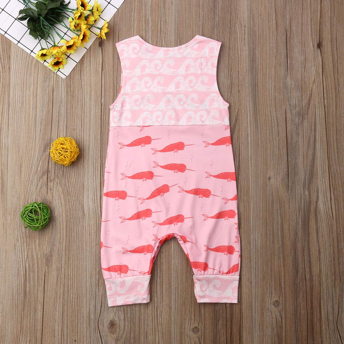 Newborn Girl Boy Unisex Baby Cute Floral Summer Sleeveless One Piece Outfit Clothes,Footless,Sleep /& Play