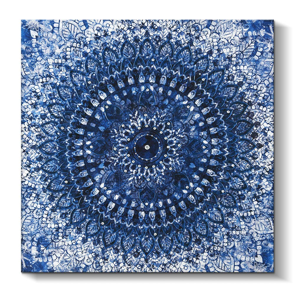 Pi Art Indigo Mandala Canvas Art Blue Abstract Boho Wall Painting Home Decoration For Living Room Stretched And Framed 24x24 B