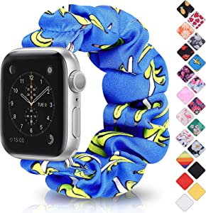 Relting Scrunchie Elastic Watch Band Compatible for Apple Watch Band 42mm 44mm, Soft Printed Fabric Wristbands Replacement for iWatch Series 6,5,4,3,2,1 (3-Blue Banana, 42mm/44mm Medium)