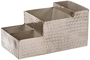 "American Metalcraft HMBAR9 Hammered Stainless Steel Coffee Caddy, 4 Compartments, 8"" x 4"", Silver"