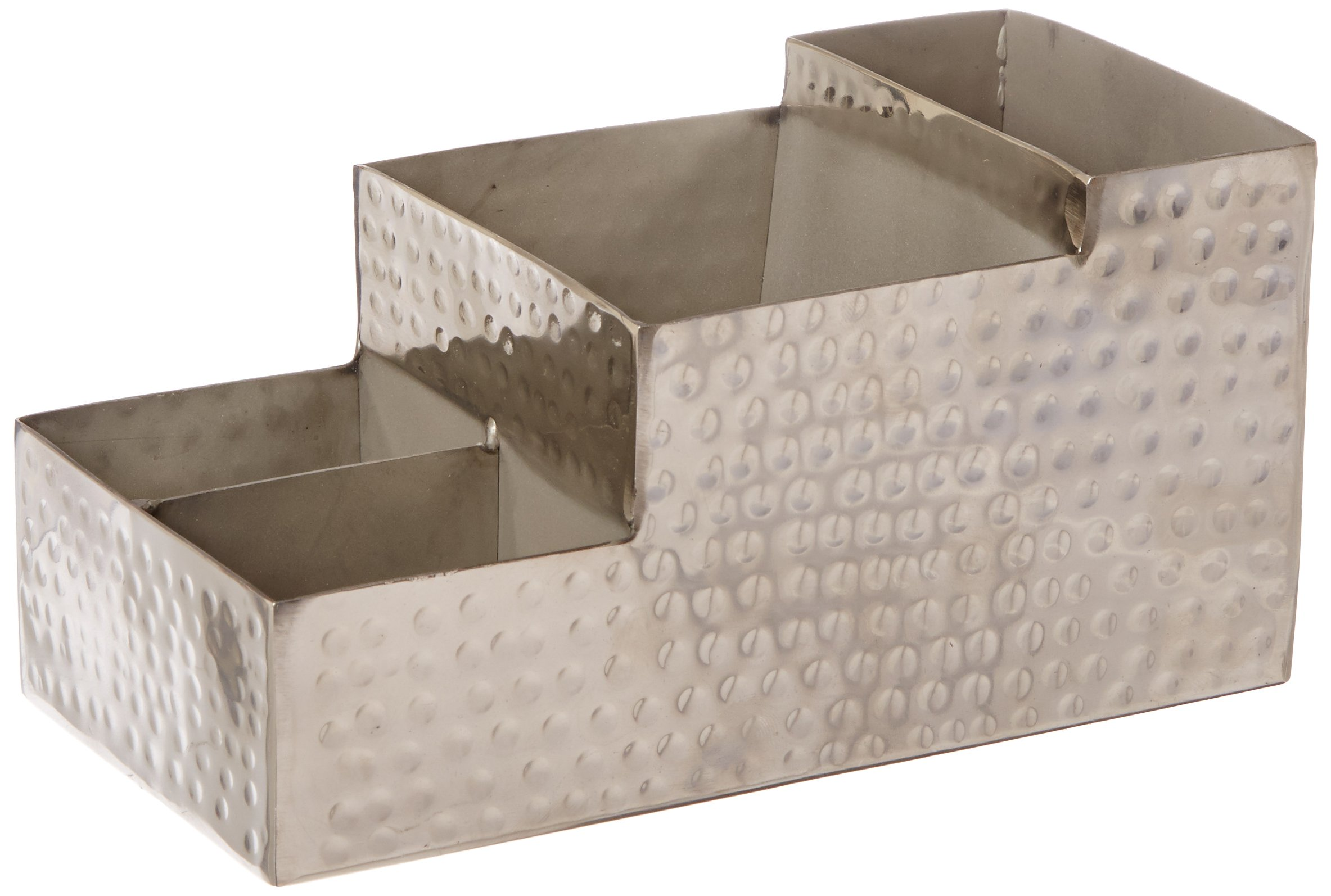 American Metalcraft HMBAR9 Hammered Stainless Steel Coffee Caddy, 4 Compartments, 8'' x 4'', Silver