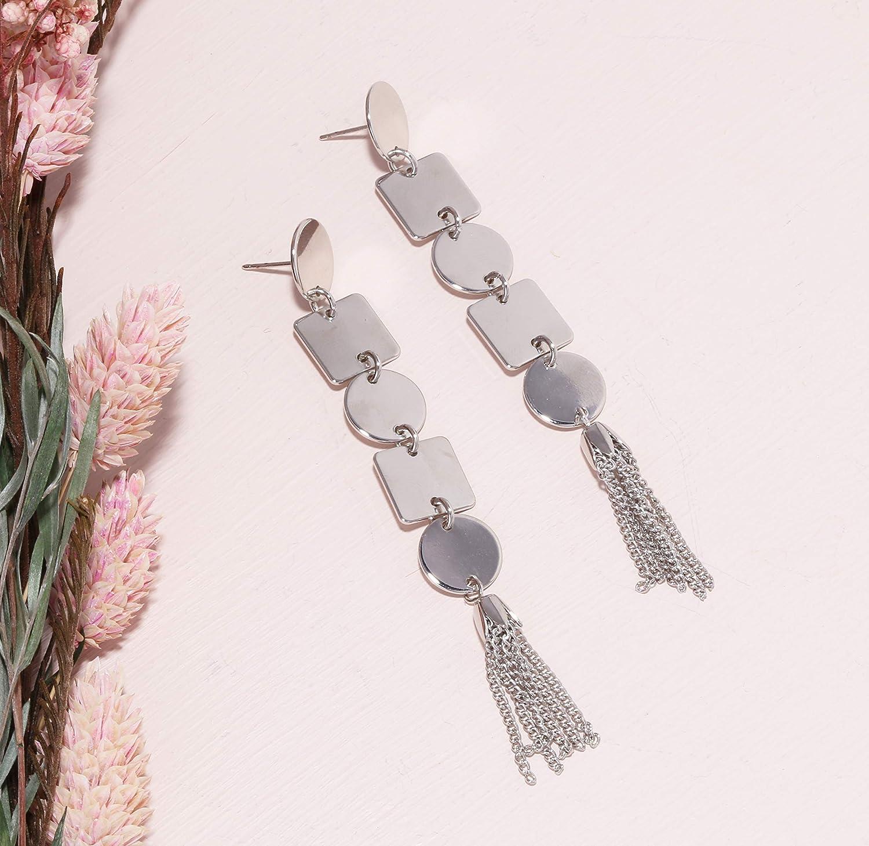 Geometric Metal Motif Linear with Chain Tassel Long Drop Polished Earrings