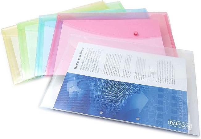 Rapesco Documentos - Carpeta portafolios A4+ horizontal, en varios colores pastel, 5 unidades, polipropileno: Amazon.es: Oficina y papelería