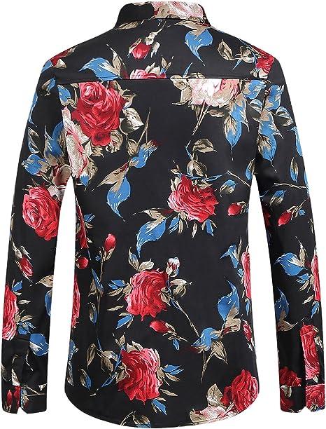 SSLR Camisa Hombre Manga Larga Flores Estampada Rosa Casual Slim Fit