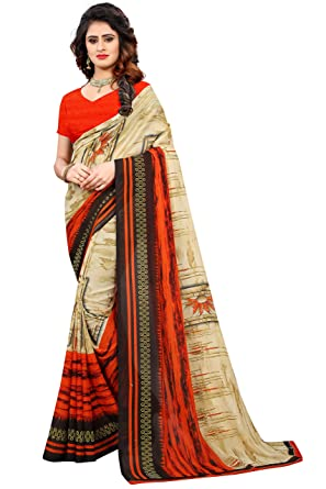 43b0843b31 sidhidata Textile women's Daily Wear Casual Wear Designer Printed Synthetic Georgette  Saree With Unstitched Blouse Piece