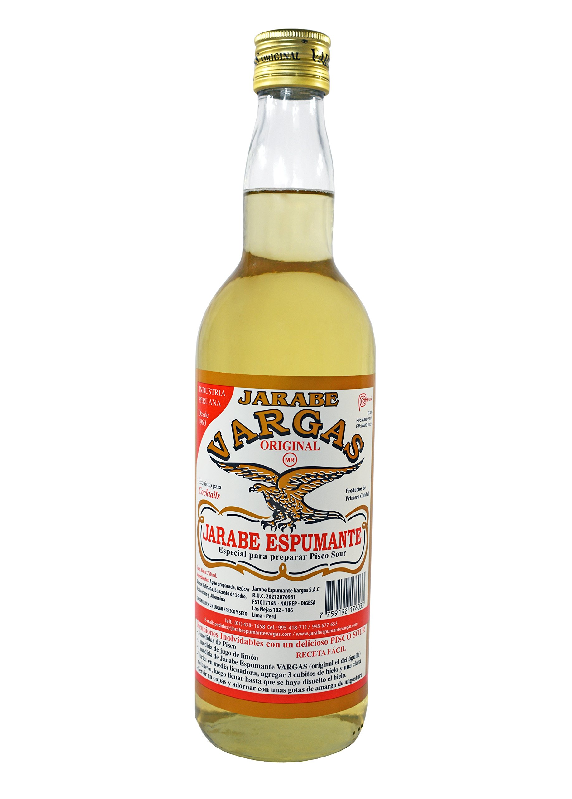 Vargas Gomme Syrup - Jarabe de Goma - Imported from Peru - 750 ml. - by Vargas