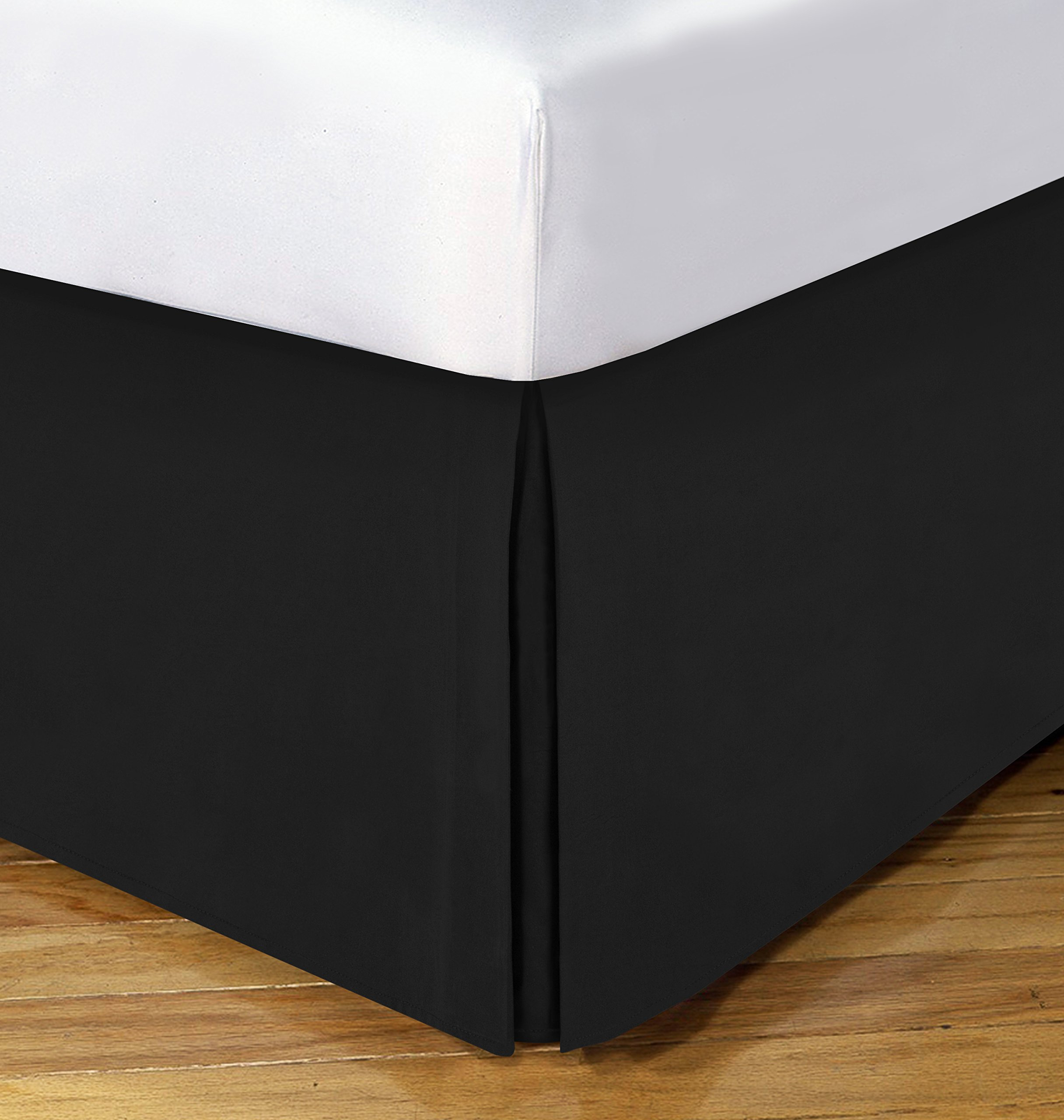 Today's Home Microfiber Bed Skirt Dust Ruffle Classic Tailored Styling 14'' Drop Extra Long Twin, Black