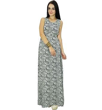 424ed9eae10c Bimba Womens Long Dress Sleeveless Printed Rayon Summer Beach Long Maxi  Dresses  Amazon.co.uk  Clothing