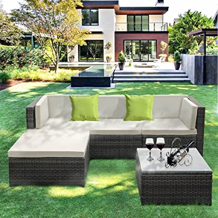 IKAYAA Outdoor Patio Furniture Set, 5 Piece Wicker Rattan Garden Sectional  Sofa with Soft Cushions - Amazon.com: IKAYAA Outdoor Patio Furniture Set, 5 Piece Wicker