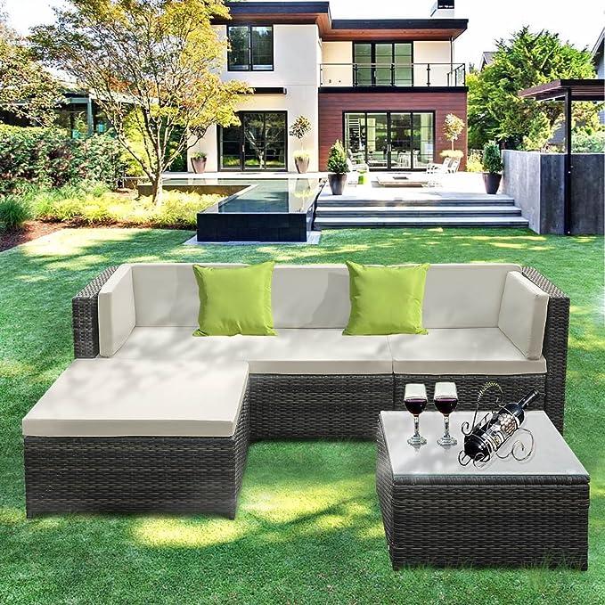 IKAYAA Outdoor Patio Furniture Set, 5 Piece Wicker Rattan Garden Sectional Sofa with Soft Cushions, Glass Coffee Table