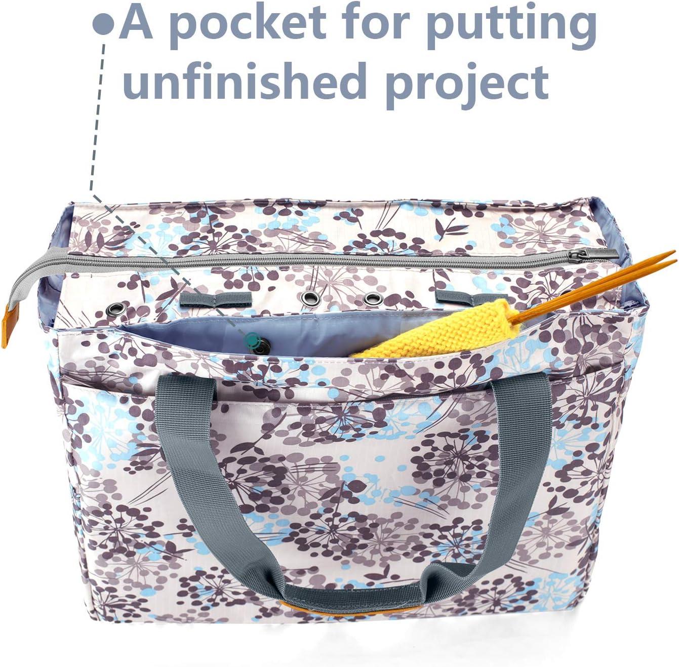 IPOTCH Stricktasche Aufbewahrung H/äkelnadeln Geometrie und Zubeh/ör Stricknadeln Strickprojekte Handarbeitstasche Aufbewahrungstasche f/ür Wolle