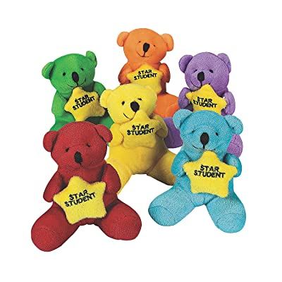 Fun Express Plush Star Student Bears - Toys - 12 Pieces: Toys & Games