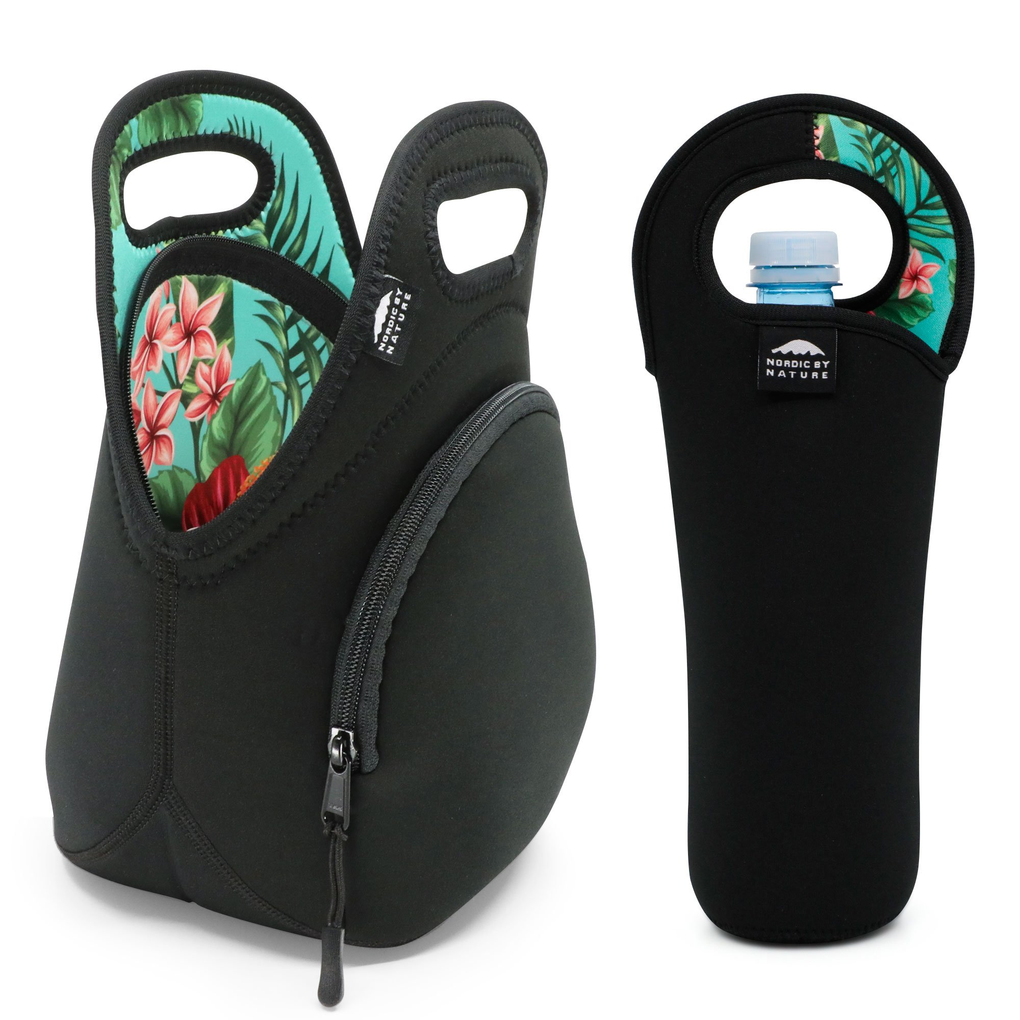 Neoprene Lunch Bags For Women, Men & Kids (Green Flower) | Extra Thick 5mm Insulation Keeps Your Lunch Box Bag Delicious For Hours | Washable | Bottle Sleeve | Extra Pocket | YKK zippers