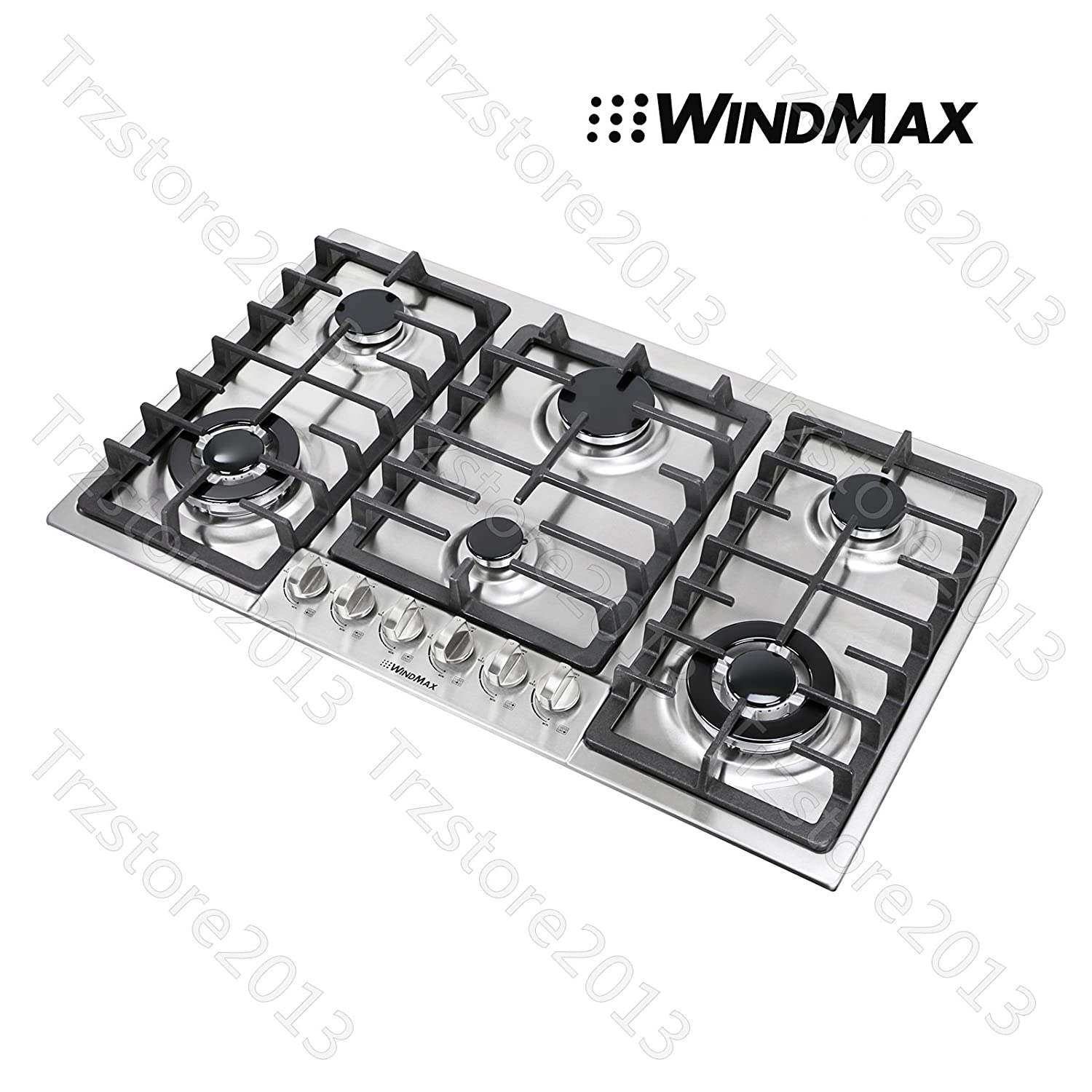 """WindMax 34"""" Titanium 6 Burners Built-In Stoves NG/LPG Cooktops Cooker~US Stored#68023"""