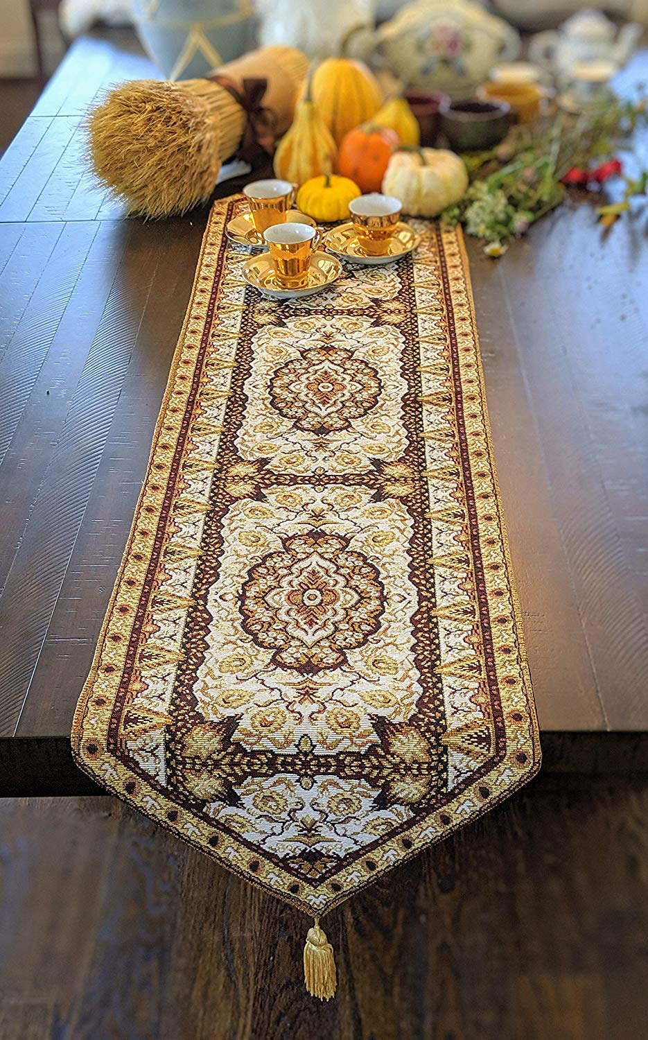 """DaDa Bedding Elegant Tapestry Table Runner - Intricate Royal Persian Rug Golden Opulence - Decorative Floral Damask Cotton Linen Woven Dining Mats - 13"""" x 54"""""""