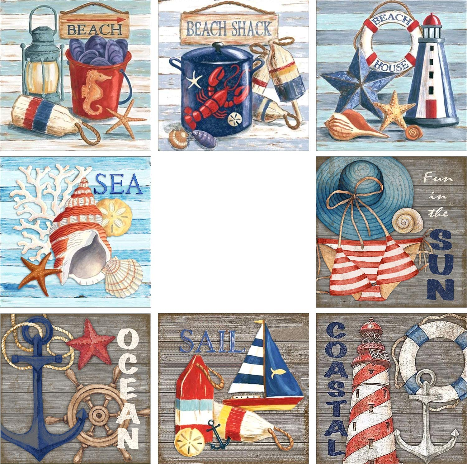 8 Pack 5D Diamond Painting by Numbers Diamond Art Dotz Kits Full Drill for Adults Kids Beginners Nautical Beach for Home Wall Decoration, Pool Beach Party Game, 12 X 12 Inch