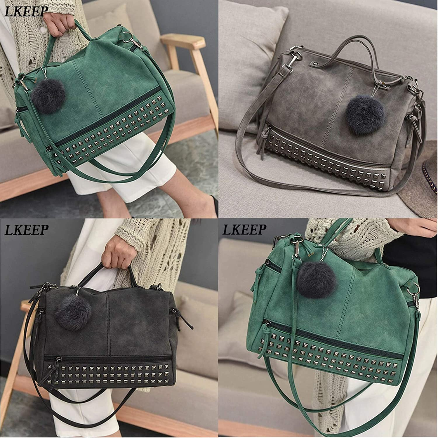 PU Leather Women's Bag Rivet Larger Ladies Handbags Hair Ball Shoulder Bag Motorcycle Crossbody Bags For Women Messenger
