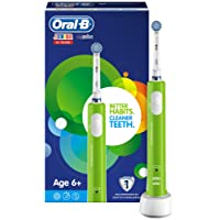 Oral-B Junior Electric Rechargeable Toothbrush Powered by Braun, Ages 6+ - Green (UK 2-Pin Bathroom Plug)