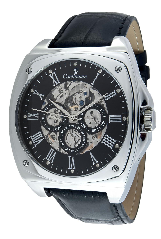 Continuum Herren Skeleton Armbanduhr XL Automatik Analog Lederarmband Schwarz Diamanten - CT120107