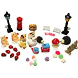 48pcs Fairy Garden Dollhouse Miniature Ornament DIY Kit with Storage Box