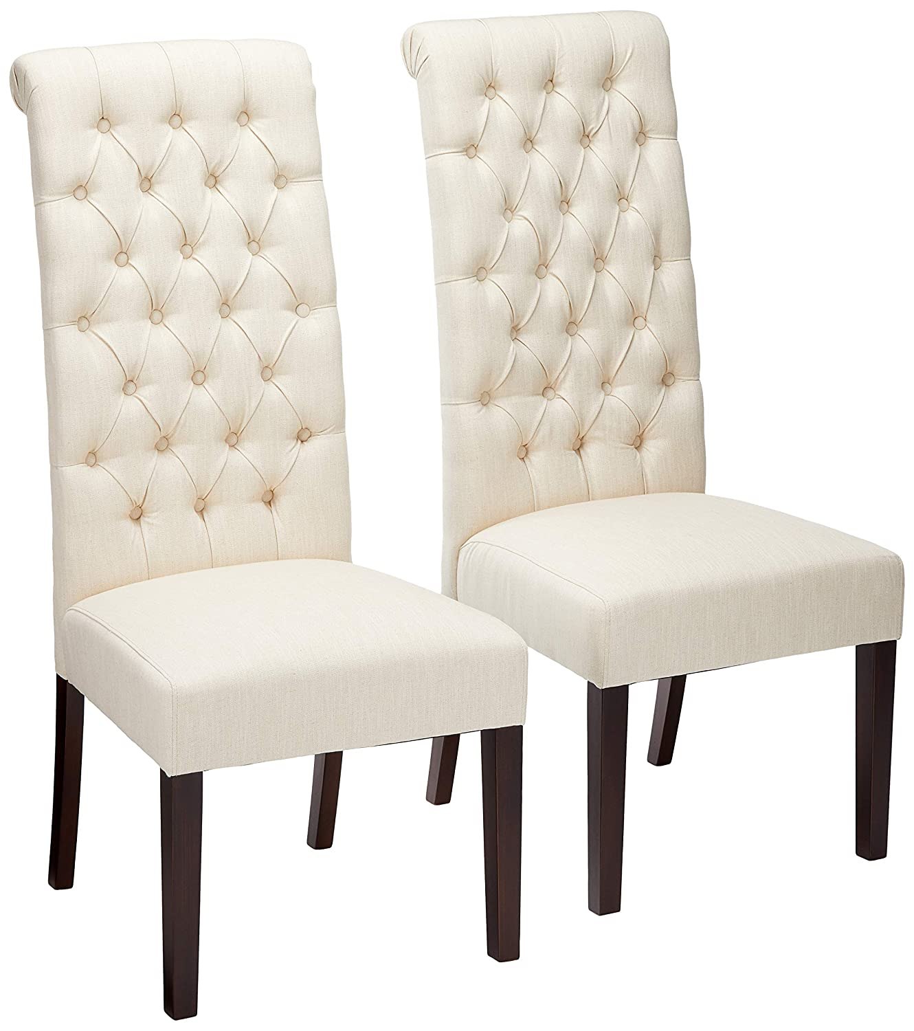 Christopher Knight Home Cooper Tall Back Natural Fabric Dining Chairs set of 2 , Beige