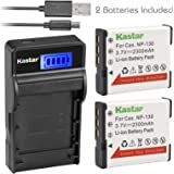 Kastar Battery (X2) & SLIM LCD Charger for Casio NP-130 NP-130A & Exilim EX-10 EX-100 EX-H30 EX-ZR100 EX-ZR200 EX-ZR300 EX-ZR400 EX-ZR500 EX-ZR700 EX-ZR800 EX-ZR850 EX-ZR1000 EX-ZR1200 EX-ZS1500