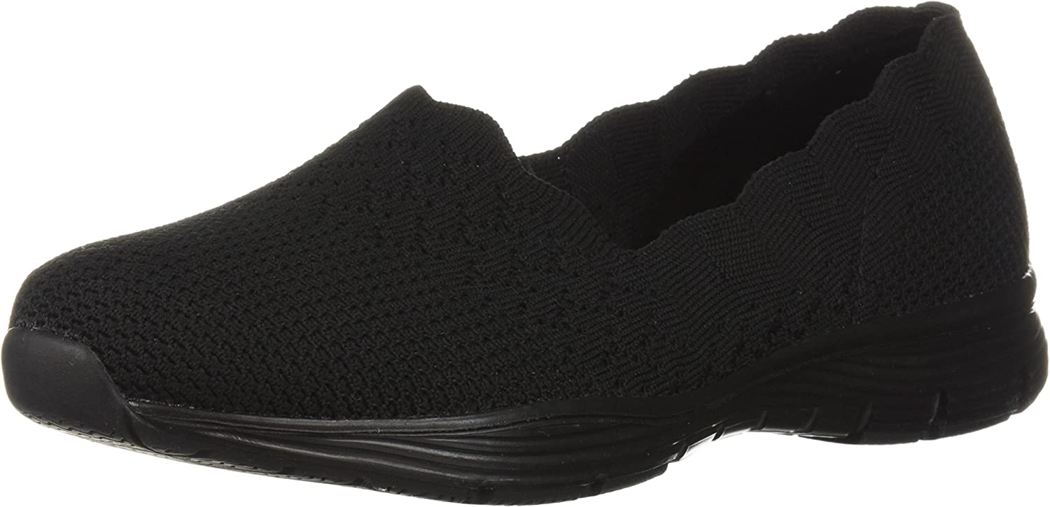 | Skechers Women's Seager-Stat-Scalloped Collar, Engineered Skech-Knit Slip-on-Classic Fit Loafer | Loafers & Slip-Ons