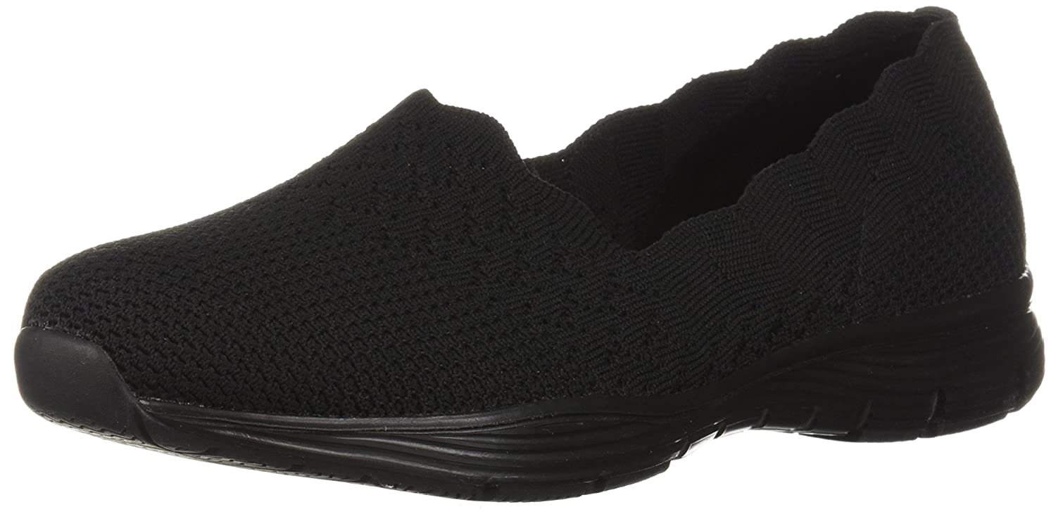 Amazon.com | Skechers Womens Seager-Stat-Scalloped Collar, Engineered Skech-Knit Slip-on-Classic Fit Loafer | Loafers & Slip-Ons