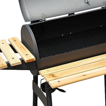 Outsunny Barbacoa Grill Carbón Estantes de Madera con Termómetro y Ruedas Barbacoa BBQ Grill con Carbón Termómetro Parilla Estantes de Madera Fumador con ...