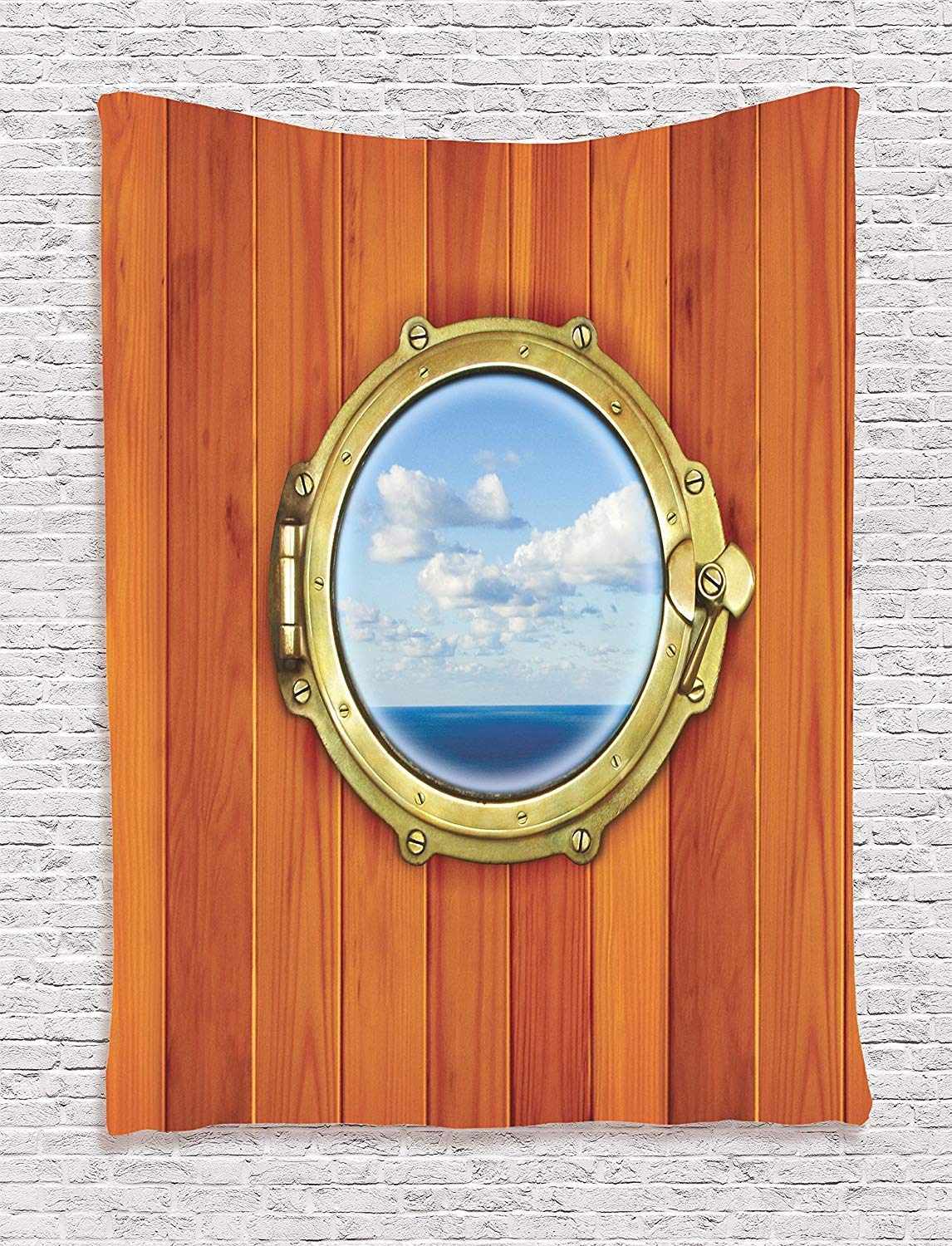THndjsh Nautical Decor Tapestry Wall Hanging, Porthole On The Wooden Background Window Ship At The Old Sailing Vessel, Bedroom Living Room Dorm Decor, 60 W x 80 L Inches