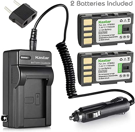 Kastar BN-VF808 Battery Detail Models in The Description and Charger Kit for JVC BN-VF808 BN-VF808U BN-VF815 BN-VF815U BN-VF823 BN-VF823U and JVC MiniDV 2-Pack Everio specified camcorders