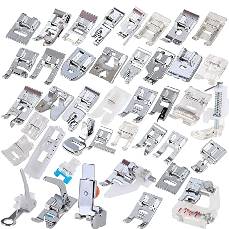 ROSENICE 42pcs Kit de prensatelas máquina coser Pies para Brother Singer repuesto accesorios