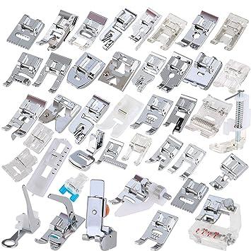ROSENICE 42pcs Kit de prensatelas máquina coser Pies para Brother Singer repuesto accesorios: Amazon.es: Hogar