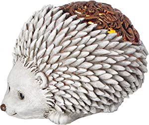 Roman Garden - Bronze Lighted Hedgehog Statue, 6H, Pudgy Pals Collection, Resin and Stone, Decorative, Garden Gift, Home Outdoor Decor, Durable, Long Lasting