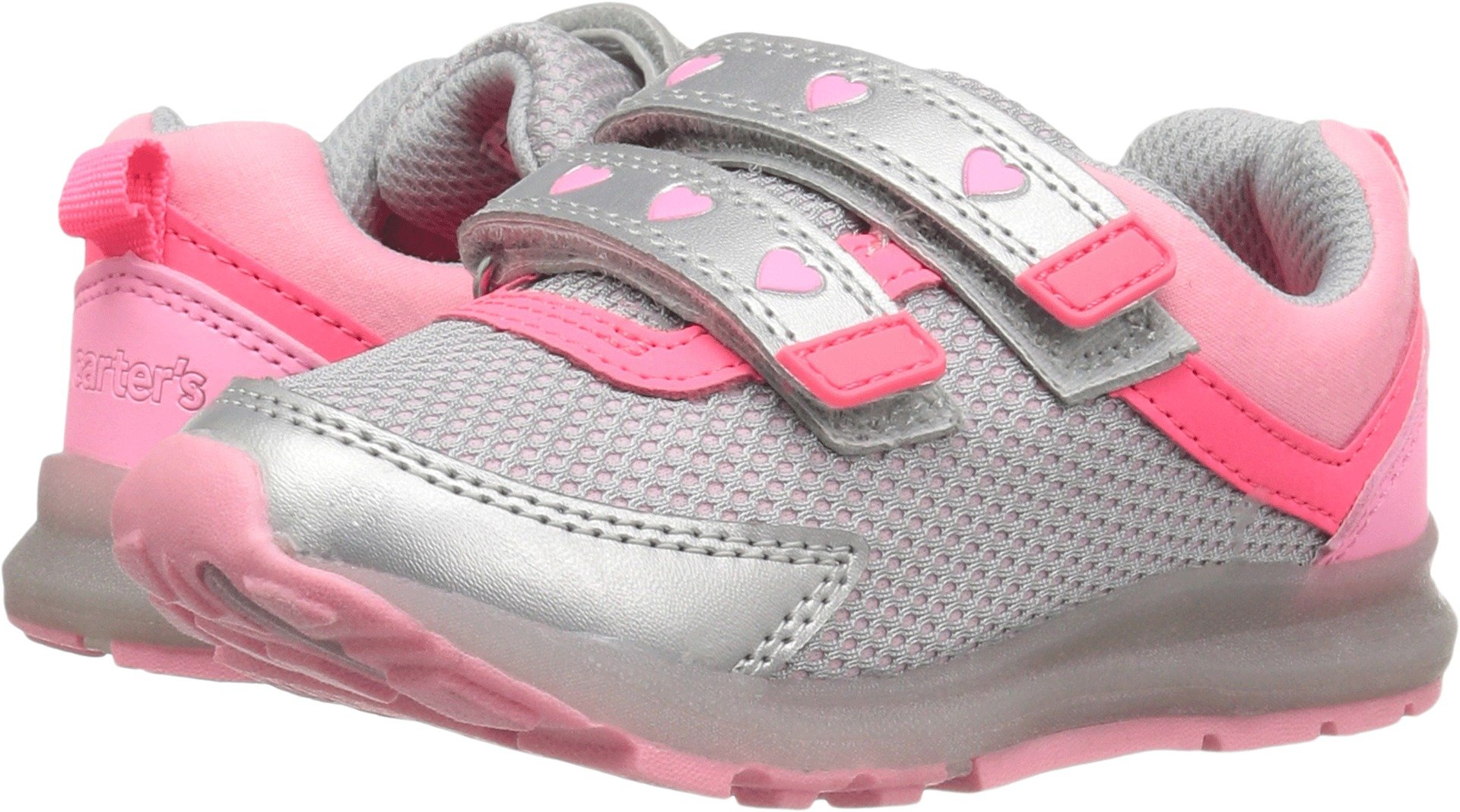 Carter's Boys' Kids' Record Girl's Light-up Athletic Sneaker, Silver/Pink, 7 M US Toddler