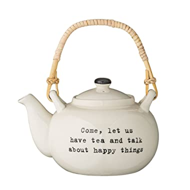 Bloomingville Come, let us have tea and talk about happy things  Tea Pot with Bamboo Handle