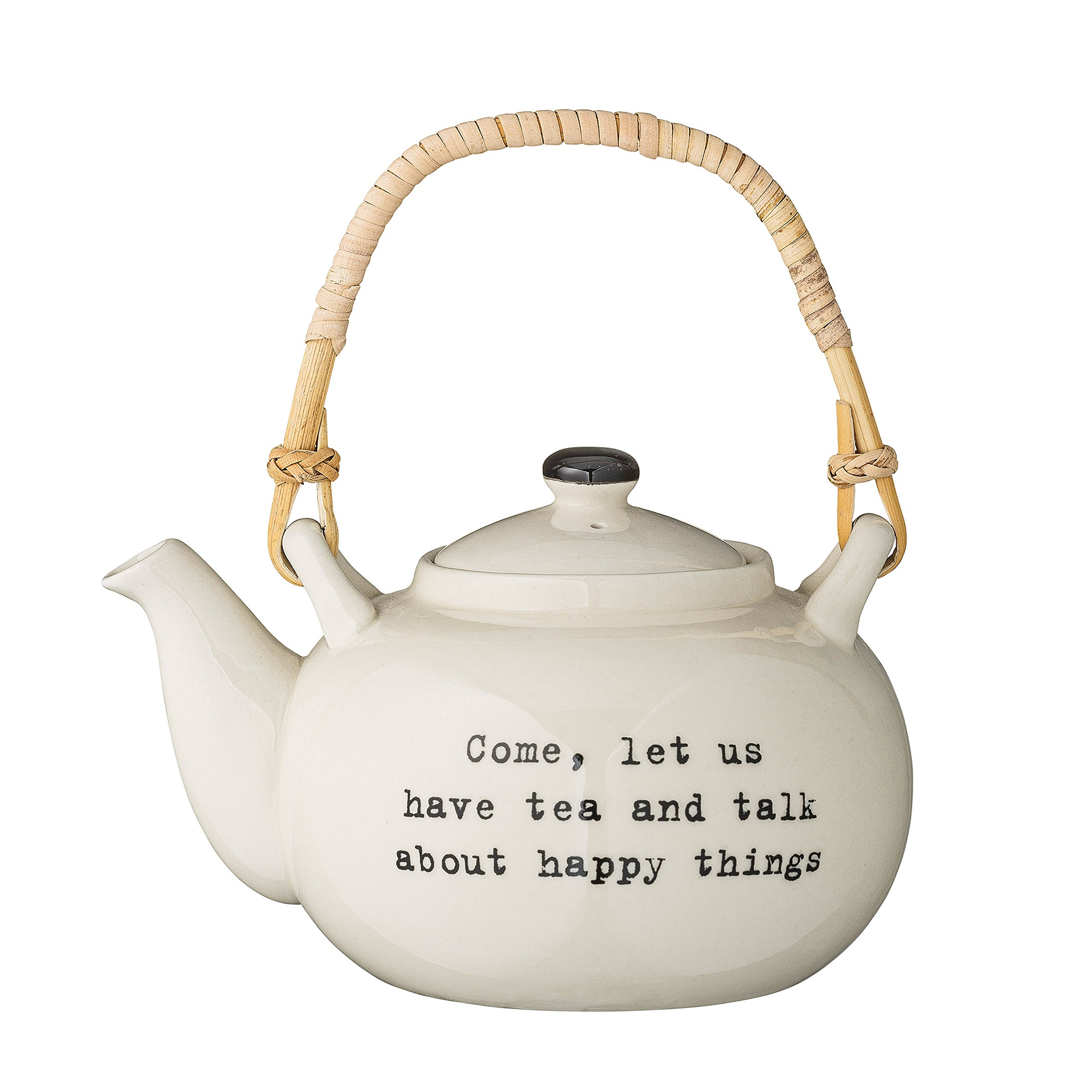 Bloomingville A21100268''Come, let us have tea and talk about happy things'' Tea Pot with Bamboo Handle