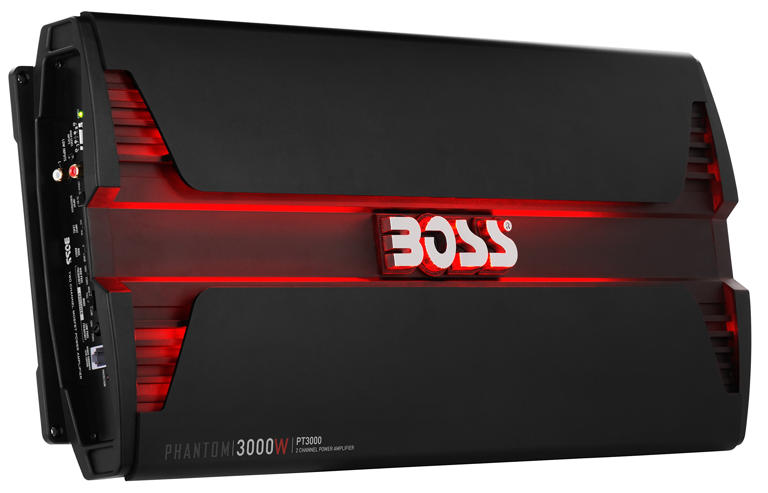 BOSS Audio PT3000 Phantom 3000 Watt, 2 Channel, 2/4 Ohm Stable Class A/B, Full Range, Bridgeable, MOSFET Car Amplifier with Remote Subwoofer Control