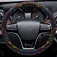 Cool & Passionate Sport Style Colorful Leather Steering Wheel Cover, Universal 15 inch Leather Steering Wheel Accessory