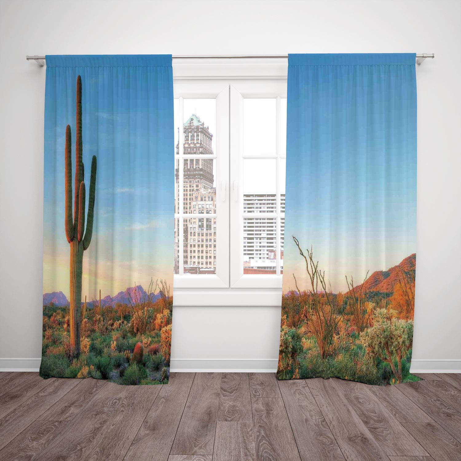 2 Panel Set Satin Window Drapes Kitchen Curtains,Saguaro Cactus Decor Sun Goes Down in Desert Prickly pear Cactus Southwest Texas National Park Orange Blue Green,for Bedroom Living Room Dorm Kitchen C
