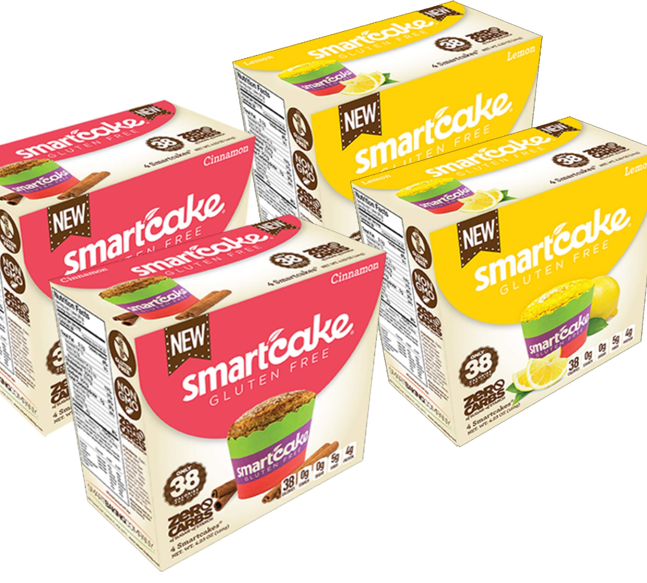 SMARTCAKE BUNDLE: 2x LEMON GOURMET BOXES AND 2x CINNAMON GOURMET BOXES: GLUTEN FREE, SUGAR FREE, LOW CARB SNACK CAKES: 8x twin packs (16 individual cakes)