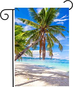 "ShineSnow Tropical Beach Ocean Sea Palm Tree Summer Blue Landscape Garden Yard Flag 12""x 18"" Double Sided Polyester Welcome House Flag Banners for Patio Lawn Outdoor Home Decor"