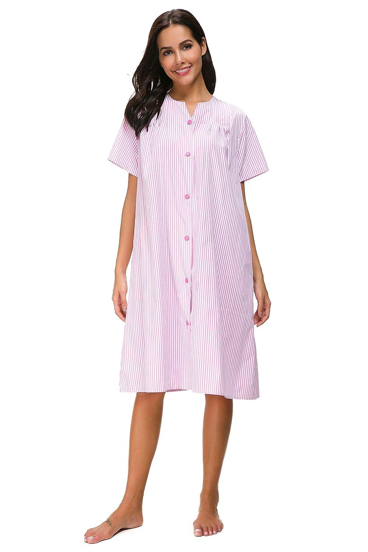 M-anxiu Sleepwear Womens Stripe Nightgown Button Down Duster Short Sleeve House Dress S-XXL