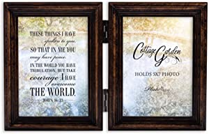 Cottage Garden in Me Have Peace Amber Goldtone 5 x 7 Wood Hinged Double Tabletop Photo Frame