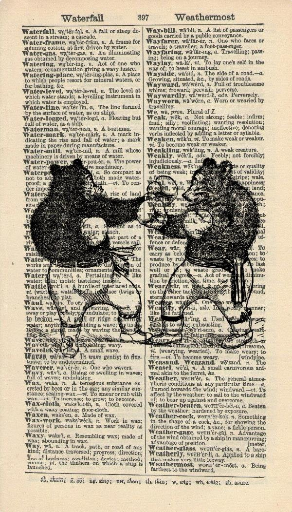 Boxing Bears ART PRINT - ANIMAL ART PRINT - ARTWORK - SPORT ART PRINT - VINTAGE Art - Illustration - Black and White Print - GIFT - Vintage Dictionary Art Print - Wall Hanging - Home Décor - Housewares -Book Print - 392B Vintage Reflectionz