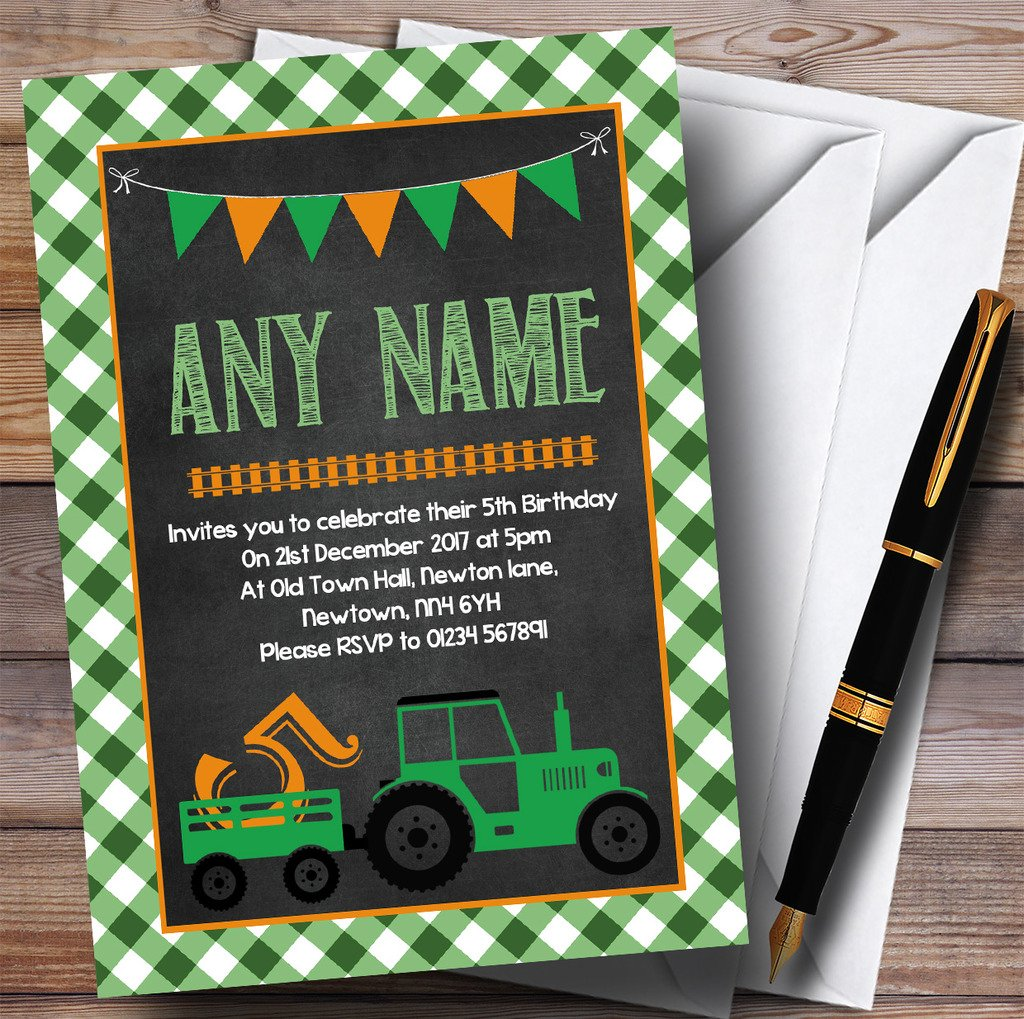 Green Country Farm Tractor Childrens Birthday Party Invitations by The Card Zoo (Image #1)