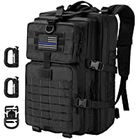Hannibal Tactical 36L MOLLE Assault Pack, Tactical Backpack Military Army Camping Outdoor Rucksack, 3-Day Pack Trip w/USA Flag Patch, D-Rings
