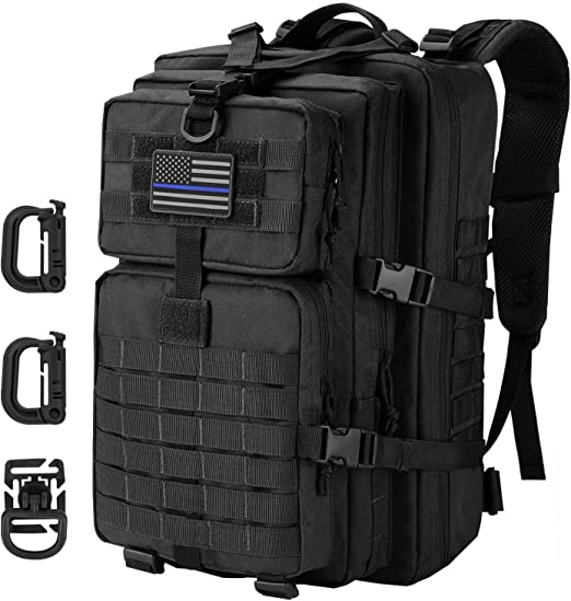 Amazon Com Hannibal Tactical 36l Molle Assault Backpack Tactical Backpack Military Army Camping Rucksack 3 Day Pack Trip W Usa Flag Patch D Rings Black Clothing