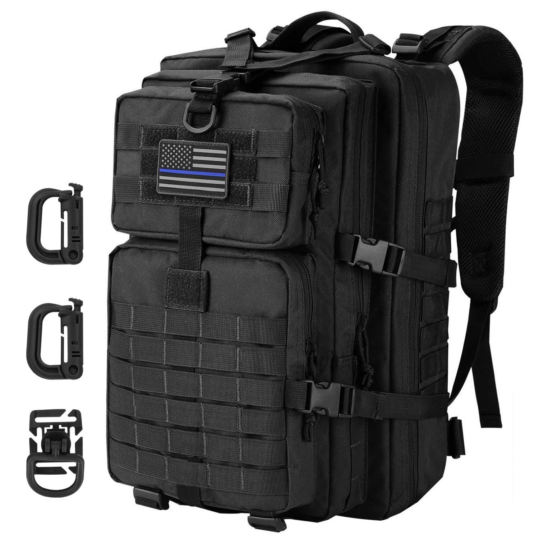 Hannibal Tactical 36L タクティカルミリタリーバックパック MOLLE Assault Army Camping リュックサック 3日パック 米国国旗パッチ付き Dリング ブラック   B07GPJLHV2