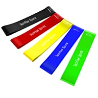 TechRise Resistance Loop Bands, Exercise Bands, Set of 5 Natural Latex Fitness Bands for Workout and Physical Therapy, Pilates, Yoga, Rehab, Improve Mobility and Strength